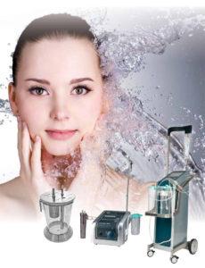 Collage aus drei Human Med Wasserstrahl-Chirurgie Gerätebeispiele mit weiblichem Model
